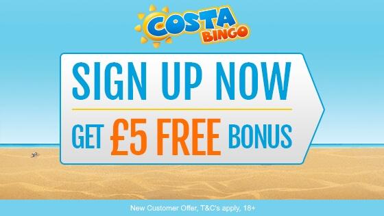 Costa Bingo £5 Free Bonus